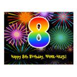 [ Thumbnail: 8th Birthday – Fun Fireworks Pattern + Rainbow 8 Postcard ]
