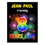 "[ Thumbnail: 8th Birthday - Fun Fireworks, Rainbow Look ""8"" Postcard ]"