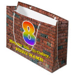 [ Thumbnail: 8th Birthday: Fun, Graffiti-Inspired Rainbow # 8 Gift Bag ]