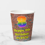 [ Thumbnail: 8th Birthday: Fun Graffiti-Inspired Rainbow 8 ]