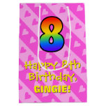 [ Thumbnail: 8th Birthday: Fun Pink Hearts Stripes & Rainbow 8 Gift Bag ]