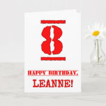 [ Thumbnail: 8th Birthday: Fun, Red Rubber Stamp Inspired Look Card ]