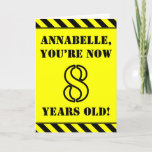 [ Thumbnail: 8th Birthday: Fun Stencil Style Text, Custom Name Card ]