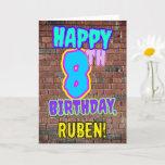 [ Thumbnail: 8th Birthday - Fun, Urban Graffiti Inspired Look Card ]