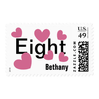 8th Birthday Girl 8 Years with Hearts PINK V08 Postage Stamp