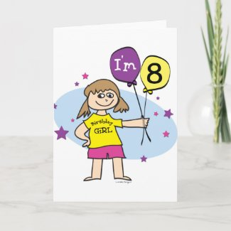 8th Birthday Girl Card