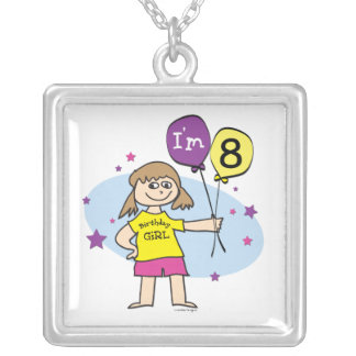 8th Birthday Girl Square Pendant Necklace