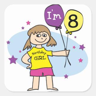 8th Birthday Girl Square Sticker