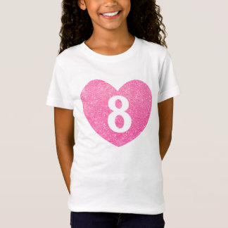 8th Birthday Glitter Pink heart Personalized T-Shirt
