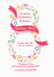 Girls 8th Birthday Invitations