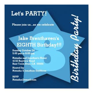 8th Birthday KIDS Eight Year Old Big Blue Star K08 Card