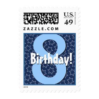 8th Birthday Party Big Bold Blue White Stars V1 Postage Stamp
