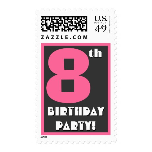 8th Birthday Party Big Bold Pink and Black Postage Stamps
