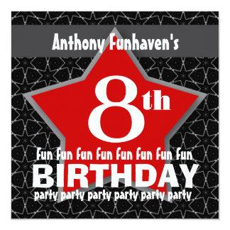 8th Birthday Party Black Red White STAR V08 Card
