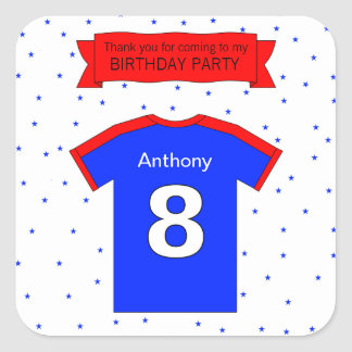 8th birthday party Custom name and text Square Sticker
