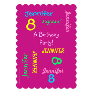 8th birthday invitations announcements zazzle 8th birthday party invitation hot pink names filmwisefo Choice Image