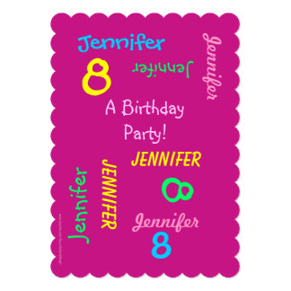 8th Birthday Party Invitation Hot Pink, Names
