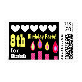 8th Birthday Party PINK Candles and Hearts V1E Postage