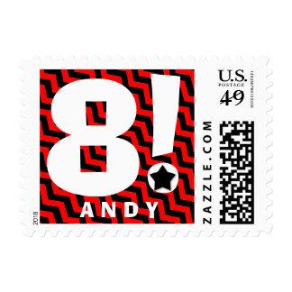 8th Birthday Party RED BLACK Chevrons V7 Postage Stamp