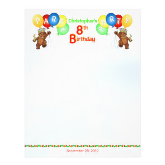 "8th Birthday Party Royal Bear Scrapbook  Paper 2 8.5"" X 11"" Flyer"