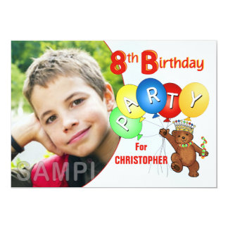 8th Birthday Party Royal Teddy Bear Card