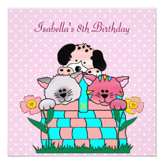 8th Birthday Party Spot Cats Dogs friends 2 Personalized Invite