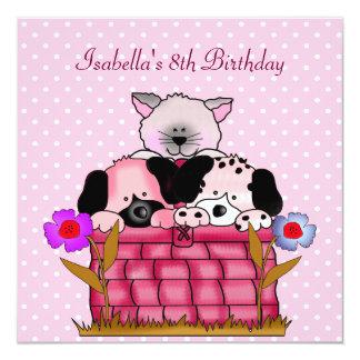 8th Birthday Party Spot Cats Dogs friends Custom Invitations