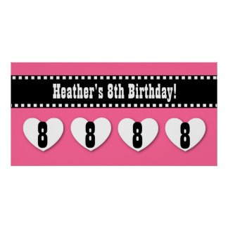 8th Birthday Pink Black Hearts Banner Custom V07 Poster