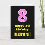 "[ Thumbnail: 8th Birthday: Pink Stripes and Hearts ""8"" + Name Card ]"