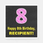 "[ Thumbnail: 8th Birthday: Pink Stripes and Hearts ""8"" + Name Napkins ]"