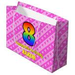 [ Thumbnail: 8th Birthday: Pink Stripes & Hearts, Rainbow # 8 Gift Bag ]