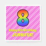[ Thumbnail: 8th Birthday: Pink Stripes & Hearts, Rainbow # 8 Napkins ]