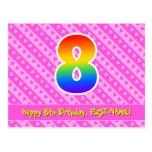 [ Thumbnail: 8th Birthday: Pink Stripes & Hearts, Rainbow 8 Postcard ]