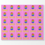 [ Thumbnail: 8th Birthday: Pink Stripes & Hearts, Rainbow # 8 Wrapping Paper ]