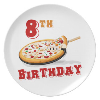 8th Birthday Pizza party Plate