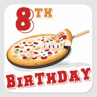 8th Birthday Pizza party Sticker