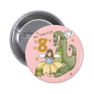 8th Birthday Princess 2 Inch Round Button