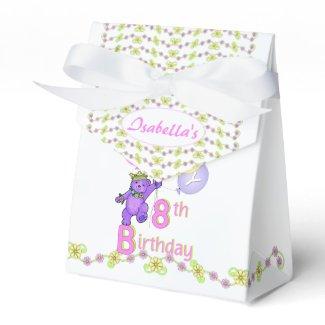 8th Birthday Princess Bear Custom Party Favor Boxes