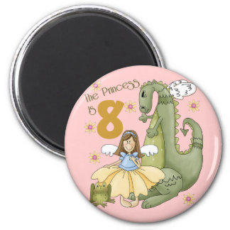 8th Birthday Princess Refrigerator Magnet