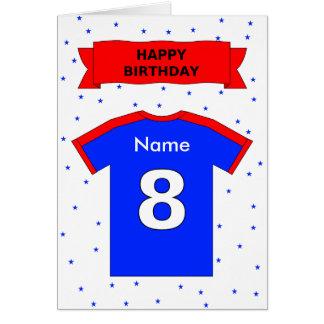 8th birthday red blue t-shirt add a name card