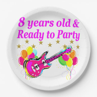8TH BIRTHDAY ROCK STAR ROCK N ROLL DESIGN PAPER PLATE