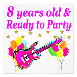 8TH BIRTHDAY ROCK STAR ROCK N ROLL DESIGN PHOTO PRINT