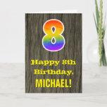 "[ Thumbnail: 8th Birthday: Rustic Faux Wood Look, Rainbow ""8"" Card ]"