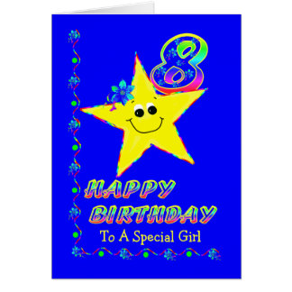 8th Birthday Stars Girl Card