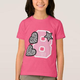 8th Birthday Zebra Hearts Eight Year Old W7 T-Shirt