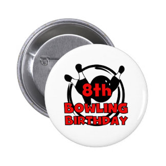 8th Bowling Birthday Button