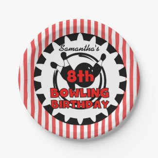 8th Bowling Sports Birthday Paper Plates 7 Inch Paper Plate