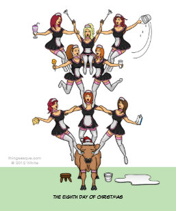 12 days of christmas 8 maids a milking