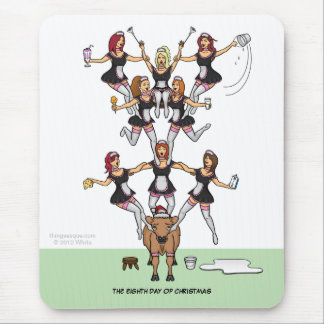 8th Day of Christmas (8 Maids a-Milking) Mousepad