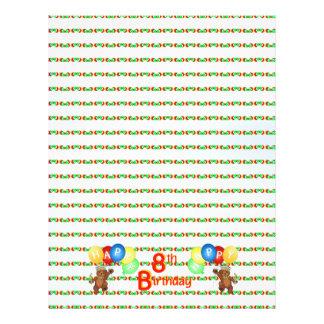 8th Happy Birthday Bear Scrapbook Paper 5